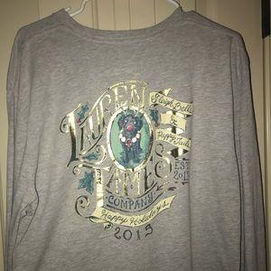 Lauren James T-shirt gray Christmas black lab